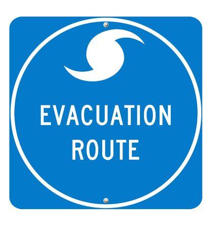 optimum: Hurricane Evacuation Sign on white background. Utilizes real road sign font for optimum quality.  Stock Photo