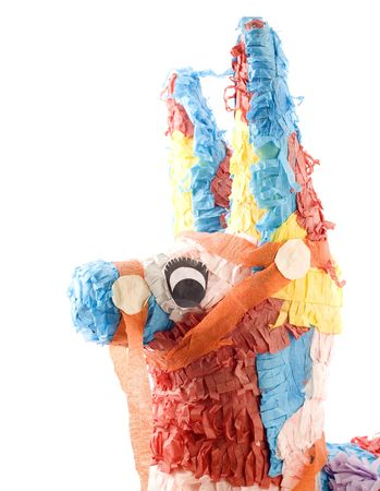 pinata: Close up of a Mexican donkey pinata. Isolated over white Stock Photo