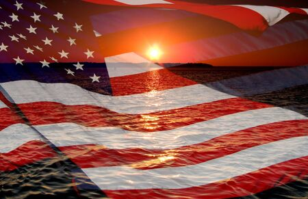 juli: Amerika patriottische concept met sunrise.