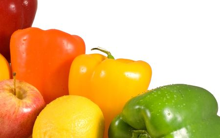 Closeup image of colorful fruits and vegetables over white. Stock Photo - 8087904