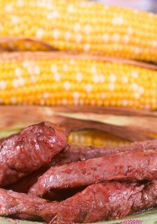 corn yellow: Bistec a la plancha de bisontes y ma�z fresca amarillo.