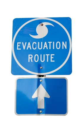 evacuacion: Signo de ruta de evacuaci�n de huracanes aislados.