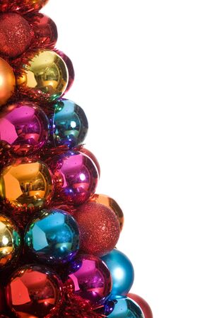 Beautiful Christmas bauble ornaments.  Studio isolated with white background.  Plenty of copy space for easy extraction.