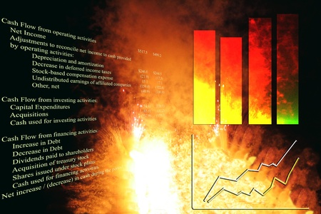 cash flows: Cashflow statement with business graph and stock chart, over an explosion. Stock Photo