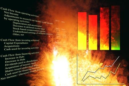 cashflow: Declaraci�n de flujo de efectivo con gr�fico gr�fico y stock de negocio, sobre una explosi�n. Foto de archivo