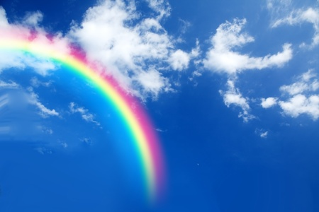 rainbow colours: A conceptual image featuring a rainbow in the sky.