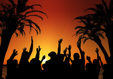 Tropical Vacation concept with dancers in the foreground against a colorful ocean sunset