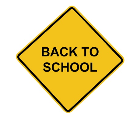Isolated Back to School concept Road Sign over white background. %u58F9ncluded for easy extraction. 版權商用圖片