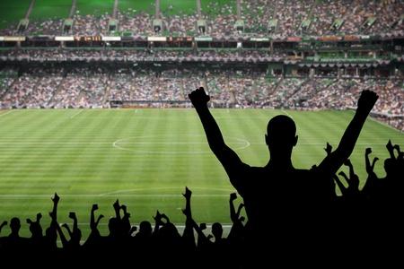 soccerfield: Waaier het vieren van een overwinning op een voetbalwedstrijd. Stockfoto