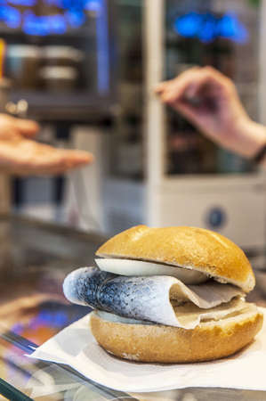 semmel: Buy a fish bread roll  Stock Photo