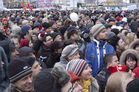 opposition: Russia, Moscow - DECEMBER 24:  120 thousands of protesters take to in Academician Sakharov Prospect  to protest Putin, calling for fair. The biggest protest in Russia for the last 20 years.