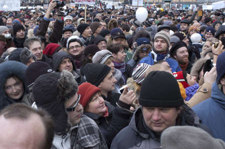 riot: Russia, Moscow - DECEMBER 24:  120 thousands of protesters take to in Academician Sakharov Prospect  to protest Putin, calling for fair. The biggest protest in Russia for the last 20 years.