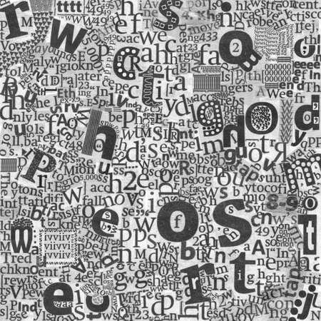 clippings: Peri�dicos de las letras en la textura del fondo del peri�dico real.