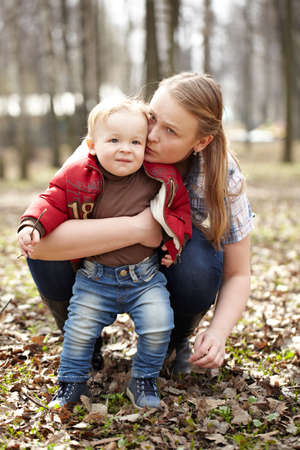 Young mother and son Stock Photo
