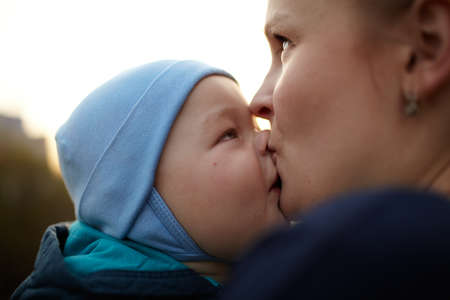 mom kiss son: Mother and child