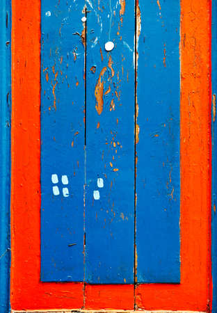Blue and red wooden board lumber  photo