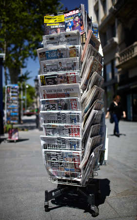 BARCELONA - MAY 23   A newspaper pole stay on a street on May, 23, 2012 in Barcelona, Spain  photo