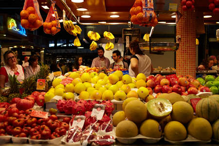 BARCELONA - MAY 26  The section of fruit and vegetables at the marketplace on May, 26, 2012 in Barcelona, Spain  photo