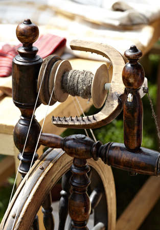 crafted: Macro shot detail of the vintage weaving loom Stock Photo