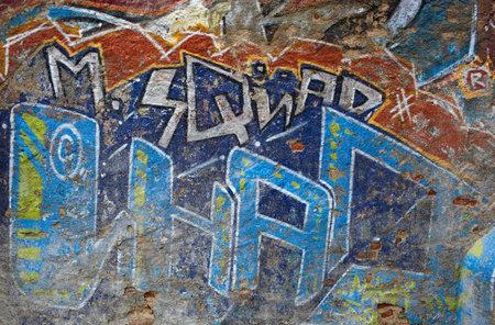 Graffiti wall  Modern street art  Barcelona, Spain  Editorial