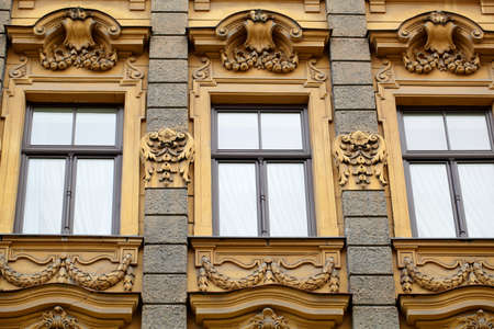 Vintage building in jugendstyle  Art Nouveau  in Riga, Latvia  Architecture detail  Historical building  Stock Photo - 16642046