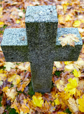 nazism: High angle of tombstone cross  Cemetery of German soldiers in Toila, Estonia  Autumn