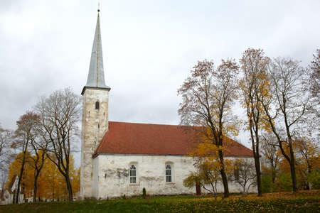 lutheran: Lutheran church, Johvi, Estonia  Autumn  Bare trees