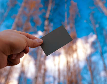 the concept is correct: Grey photo card in the photographer s hand - using for the correct white balance  Stock Photo