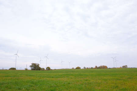 Wide shot of the wind turbines in the field  Stock Photo - 16675626