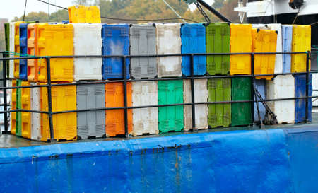 Bright colorful containers on the cargo ship at the port  photo