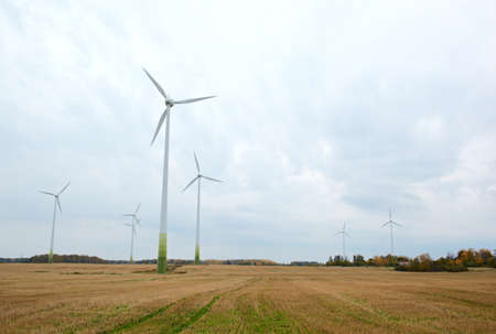 Many wind turbines  Go green