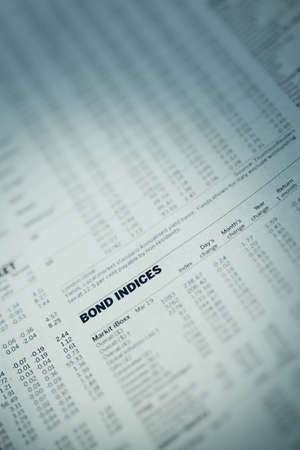 indices: Article in the financial newspaper with the words Bond Indices