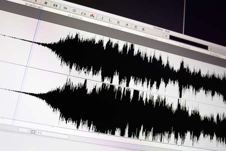 audio wave: Timeline window with black sound waveform in the film editing soft