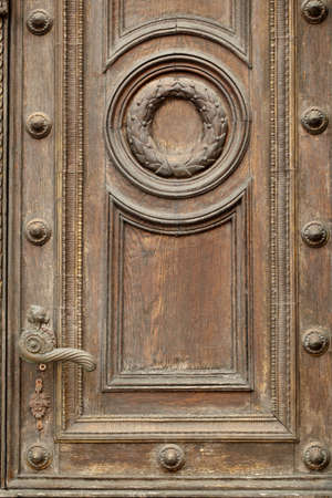 Vintage door with handle in tallinn, estonia photo