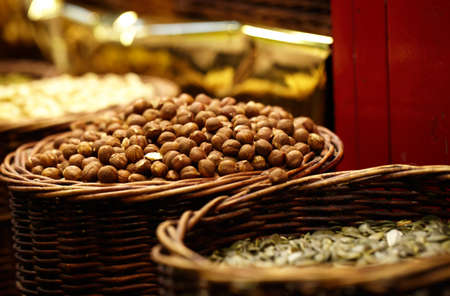 avellan: Hazelnuts at the La Boqueria market in Barcelona, Spain