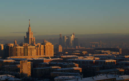 Sunrise over the Moscow  Moscow State University and Moscow-City  photo
