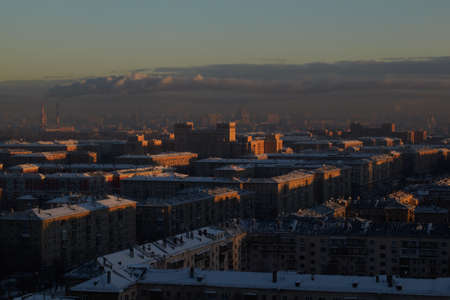 Sunrise over the city  Urban cityscape  photo