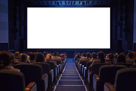 당신의 그림 화면을 추가하는 청중 준비 빈 영화 화면이 선명한 테두리가 스톡 콘텐츠