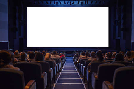 projection screen: Empty cinema screen with audience  Ready for adding your picture  Screen has crisp borders    Stock Photo