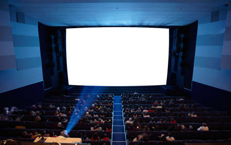 projection screen: Cinema auditorium with people in chairs watching movie