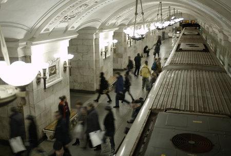 subway platform: Blurred people on subway platform leaving the train