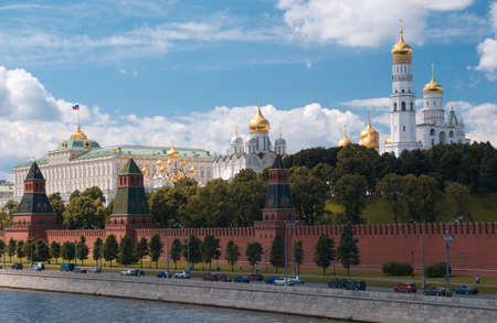 Moscow Kremlin. The Grand Kremlin Palace and waterfront at sunny summer day. Stock Photo