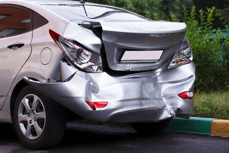 A car has a big dent after an accident 版權商用圖片 - 21580119