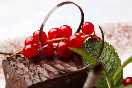 chocolaty: Bunch of fresh ripe red currants and an elegant chocolate swirl on top of a gourmet chocolate dessert garnished with peppermint Stock Photo