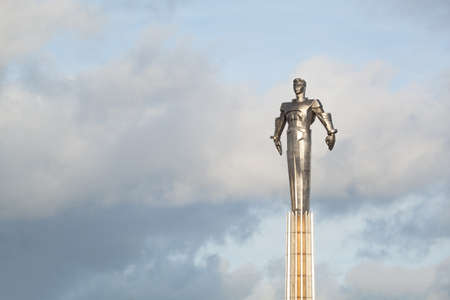 gagarin: MOSCOW, RUSSIA - NOVEMBER 11, 2013: Monument to Yuri Gagarin. Metal statue of famous Russian cosmonaut in Moscow