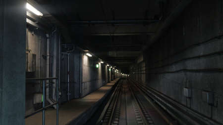 artificial light: View on subway rails in artificial light