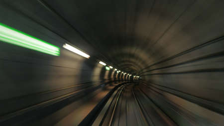 tunnel view: Blurred view on subway tunnel in motion Stock Photo