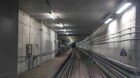 railroads: View on interior of metropolitan tunnel with artificial light