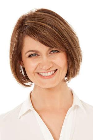 Foto de cabeza de la mujer adulta mirando a la cámara con sonrisa de pez. Aislado, tiro del estudio. Foto de archivo