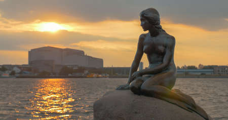The Little Mermaid statue on the stone. Copenhagen, Denmark